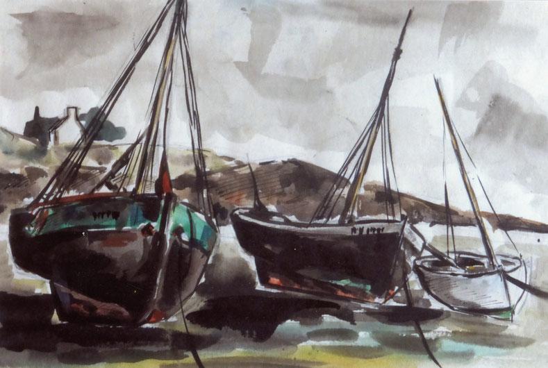 Il y avait à cette époque à l'île trois  sloups sabliers de couleur verte l'Elorn et Paul Georges et le Ste Thérèse
