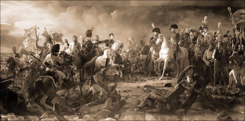 Le général Rapp présente à l'Empereur les drapeaux pris à l'ennemi à la bataille d'Austerlitz ( François Gérard )