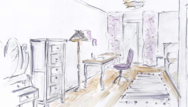 Gestaltung eines Kinderzimmers/ Jugendzimmers Mädchen, Rolf Kullmann Innenarchitekt, Atelier Feynsinn Köln