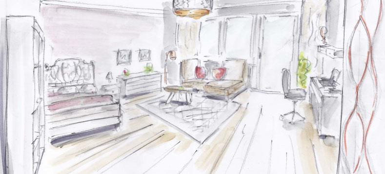 Skizze Gestaltung Jugendzimmer Mädchen, Rolf Kullmann Innenarchitekt, Atelier Feynsinn Köln