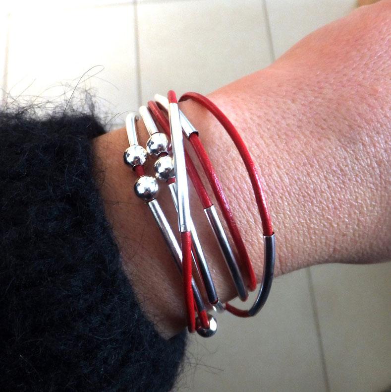 Bracelet you personnalisable et transformable cuir rouge fait main bassin d'arcachon