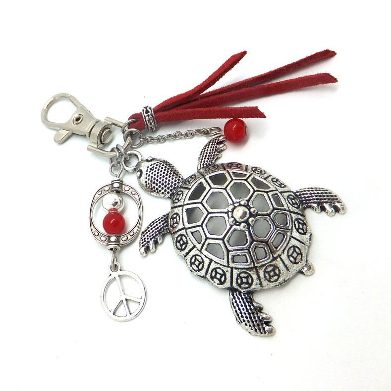 Bijou de sac tortue, porte clés tortue, peace and love, bijou de sac rouge, bijou de sac argent, fait main en France, accessoire sac, cadeau