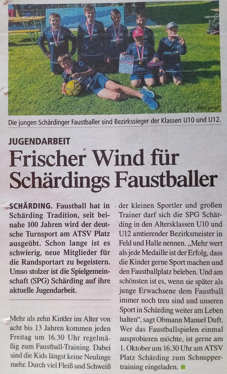 Frischer Wind für Schärdings Faustballer
