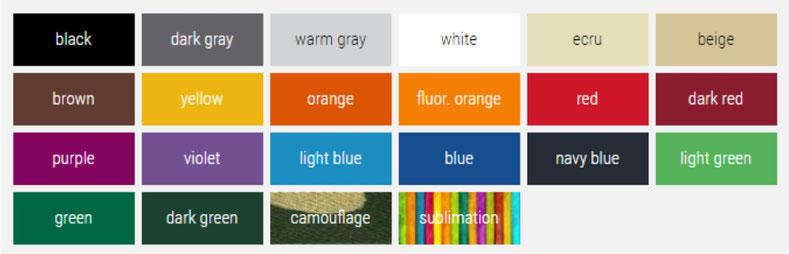 Farbauswahl für Faltzelte, Faltpavillons und Werbezelte