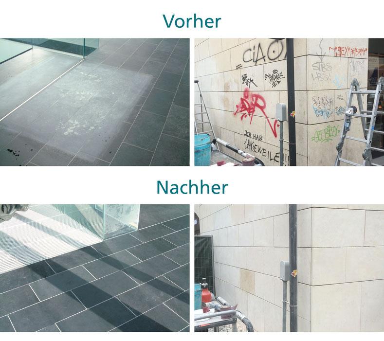 Vorher-Nachher Reinigung von Böden und Fassaden