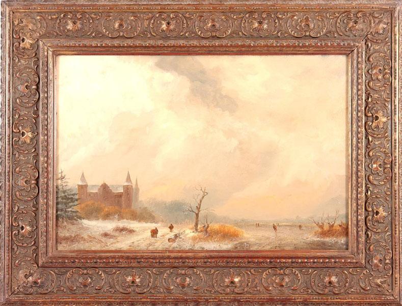 te_koop_aangeboden_een_winter_romantisch_landschap_van_de_nederlandse_kunstschilder_alexander_joseph_daiwalle_1818-1888