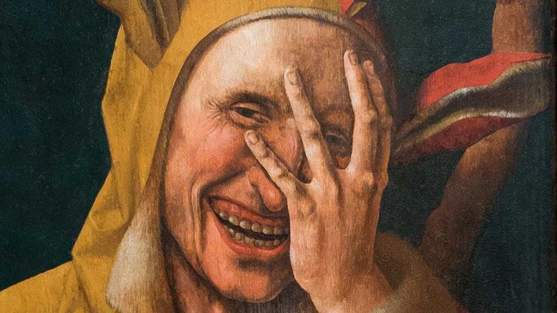"""Sciocco che ride"" in un dipinto olandese del 1500 circa"