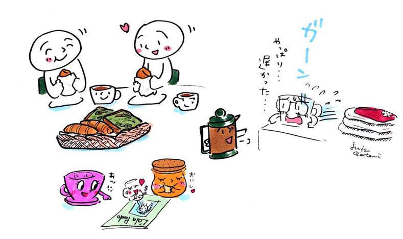 コーヒーイラスト 茶谷順子 パン イラスト