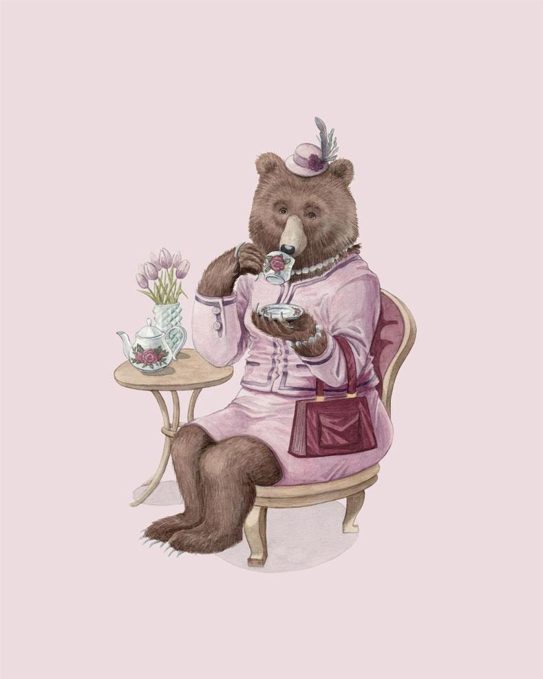 design illustration melanie suter bären tee trinken bärin kaffee pink kleid aquarell handgezeichnet analog