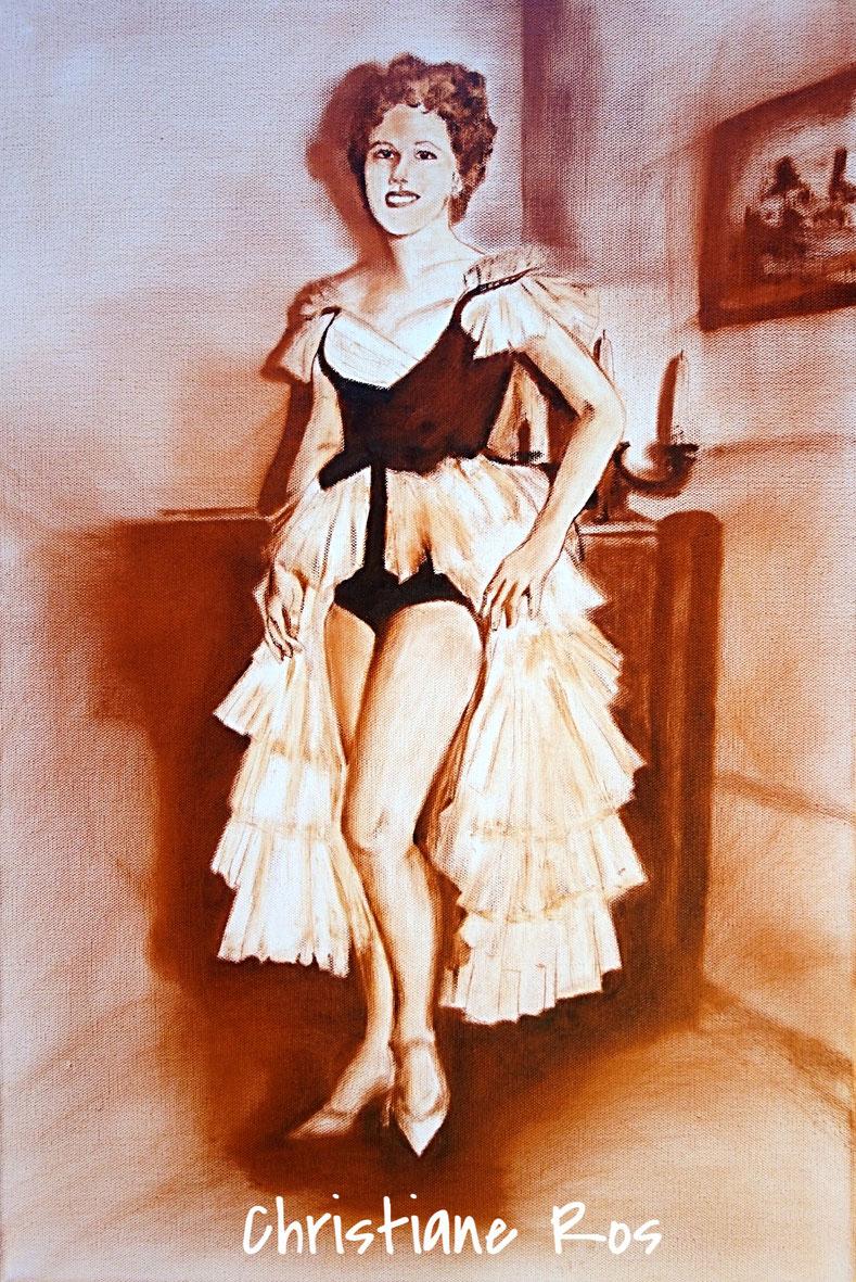 """Porträt """"Faschingsprinzessin"""" gemalt mit transparentem Öl im Stil der 50er-Jahre © Christiane Ros"""