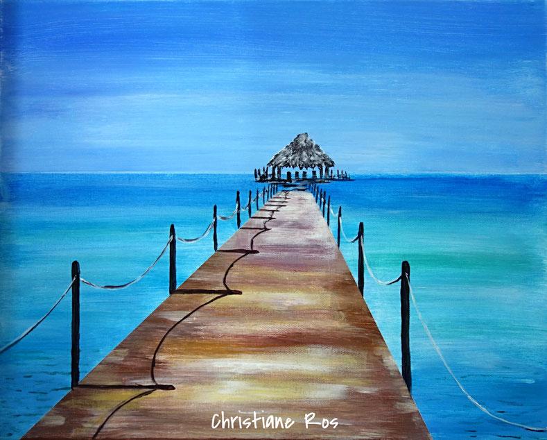 gemaltes Bild Steg Karibik © Christiane Ros