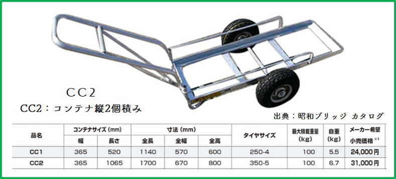 昭和ブリッジ製 コンテナ運搬カート【CC2】