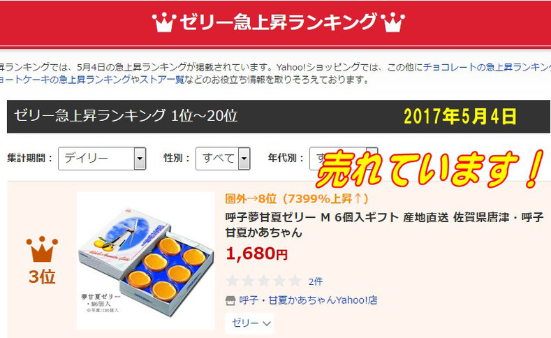 ゼリー人気急上昇ランキング3位  2017年5月4日・佐賀県唐津・呼子( 加部島)甘夏かあちゃん