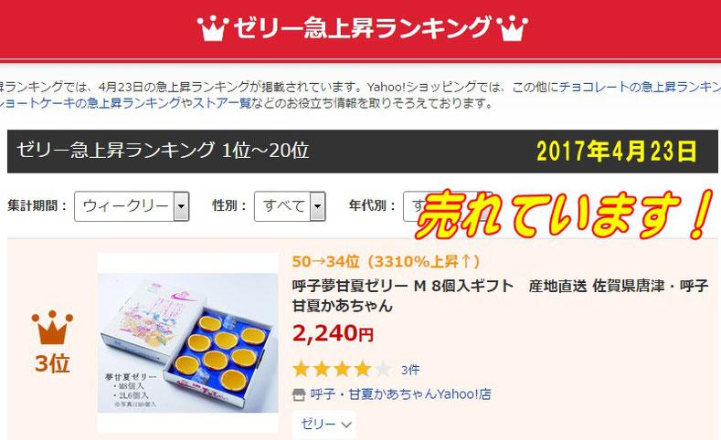 ゼリーの人気急上昇ランキング 3位  2017年4月23日・佐賀県唐津・呼子( 加部島)甘夏かあちゃん