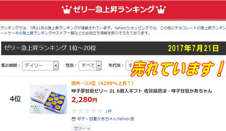 ゼリー人気急上昇ランキング4位  2017年7月21日・佐賀県唐津・呼子( 加部島)甘夏かあちゃん