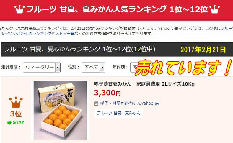 甘夏、夏みかん人気ランキング3位、呼子甘夏みかん家庭消費用2Lサイズ10kg 2017年2月21日
