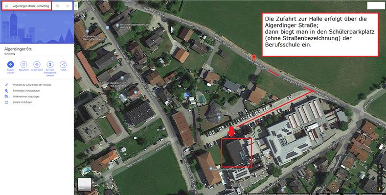 Adresszusatz Die Zufahrt zur Halle erfolgt über die Aigerdinger Straße; dann biegt man in den Schülerparkplatz (ohne Straßenbezeichnung) der Berufsschule ein