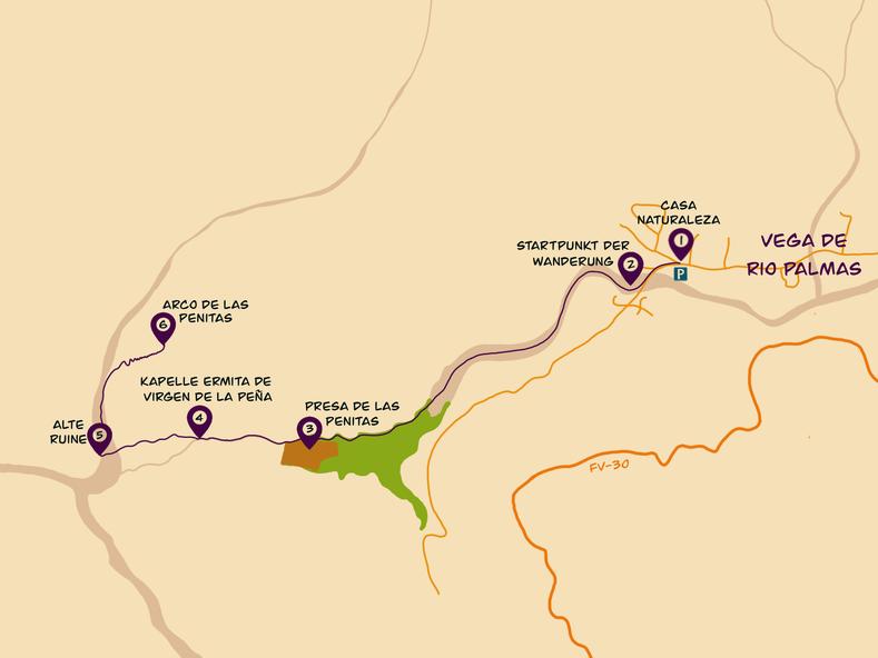 Barranco de las Penitas Karte