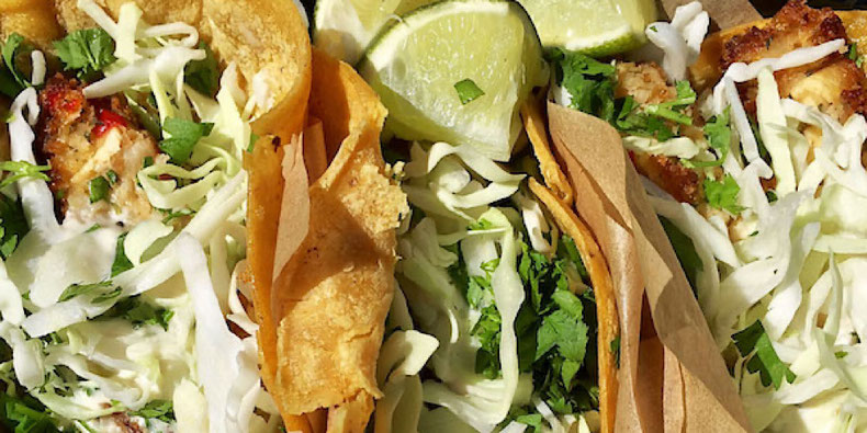 vegan fish tacos at veggie grill