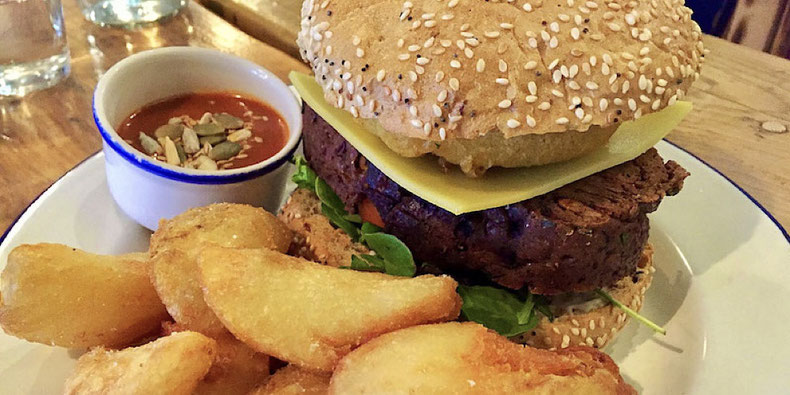 A Vegan Cheeseburger at Anna Loka in Cardiff