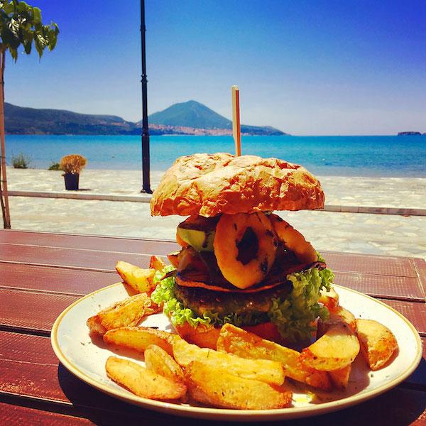 vegan burger and chips from namaste in gialova greece