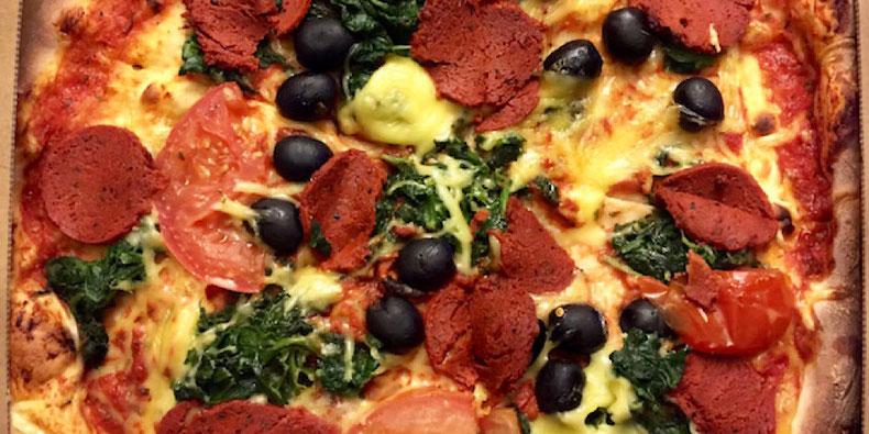 vegan cheese and pepperoni pizza express pizza copenhagen