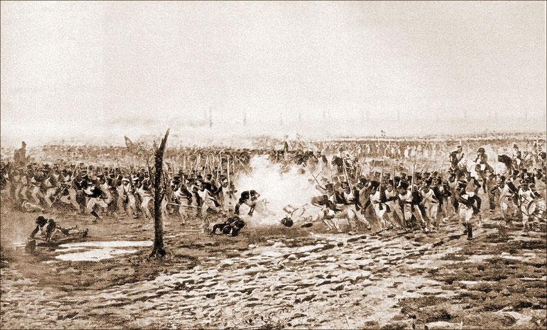 détail du panorama de la bataille de Leipzig le 18 octobre 1813L'Empereur conduit en personne l'attaque de la division Curial sur Probstheyda.