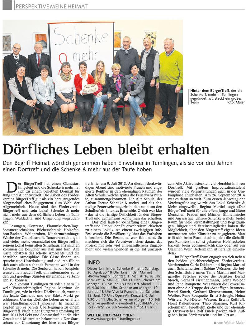 Pressebericht Bürgertreff Tumlingen, Schwarzwälder Bote, 2013