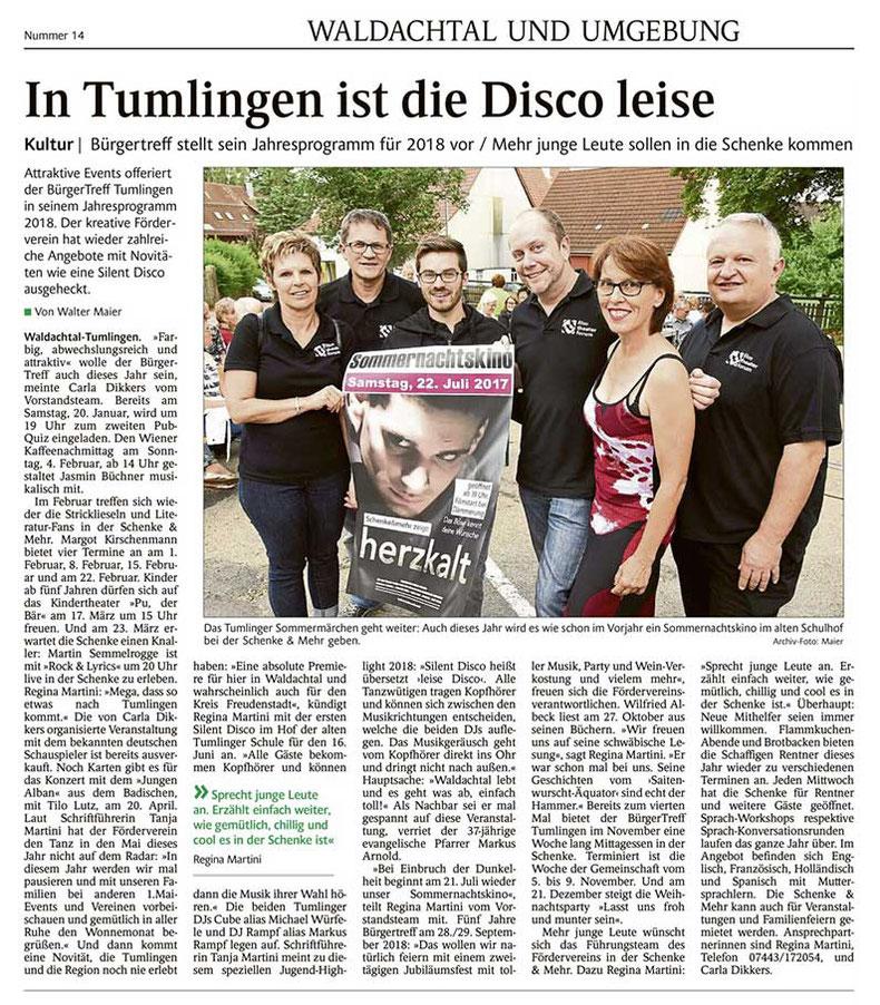 Presse-Info Schwarzwälder Bote am 18.1.2018 über Bürgertreff Tumlingen