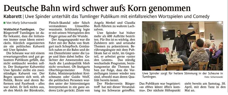 Pressebericht Bürgertreff Tumlingen, Schwarzwälder Bote vom 19.4.2016