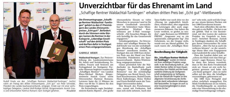 """Pressebericht über den dritten Preis beim """"Echt-gut""""-Wettbewerb, Südwest-Presse"""