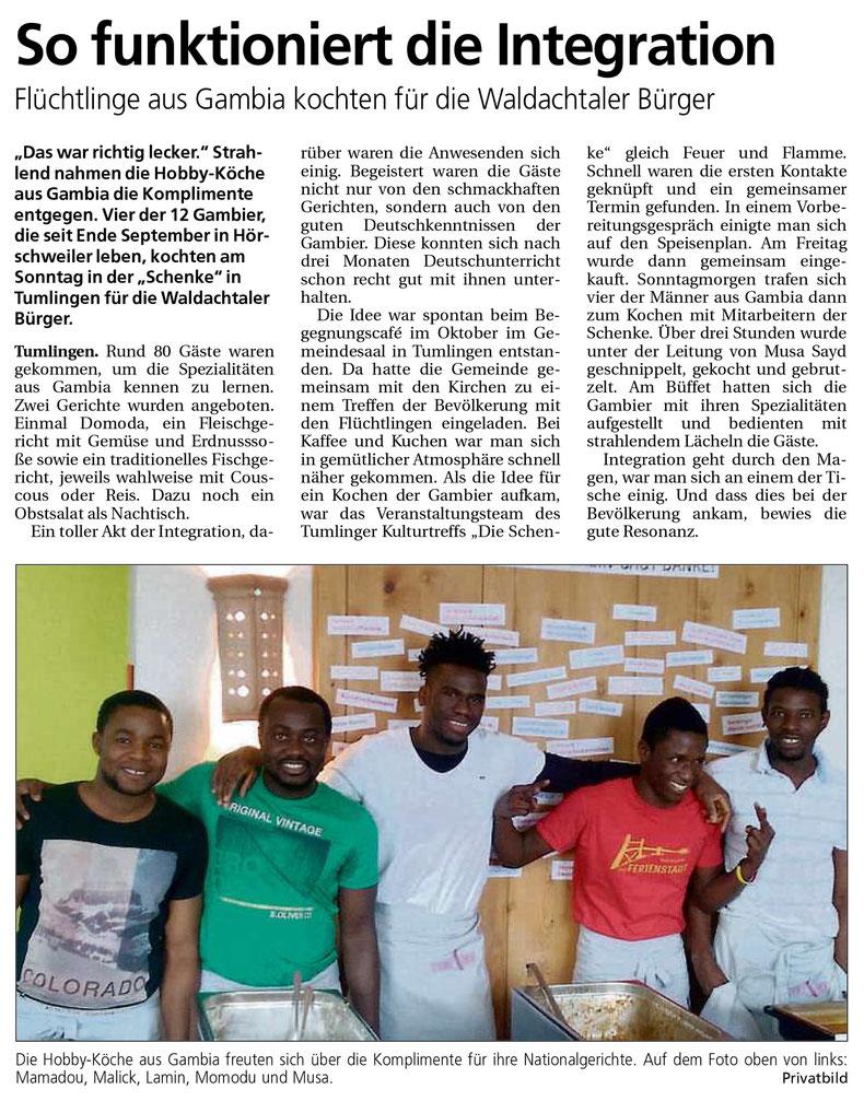 Pressebericht Bürgertreff Tumlingen, Südwest-Presse vom 26.1.2016