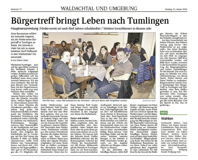 Pressebericht des Schwarzwälder Boten zur Hauptversammlung am 15.1.2018