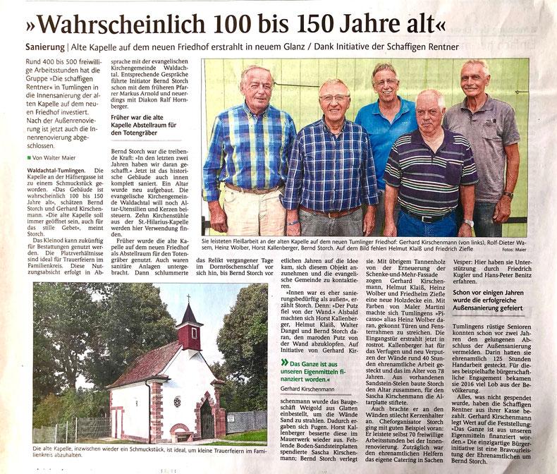 Pressebericht Schwarzwälder Bote vom 10 Sept. 2018