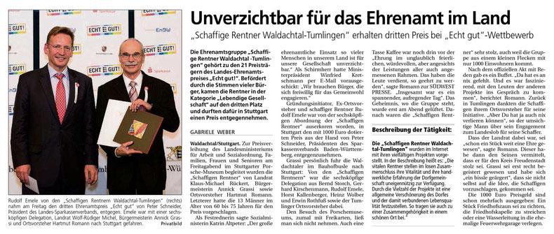 Auszeichnung für die Schaffigen Rentner vom Förderverein Bürger-Treff e.V. | Rötweg 6 | 72178 Waldachtal-Tumlingen