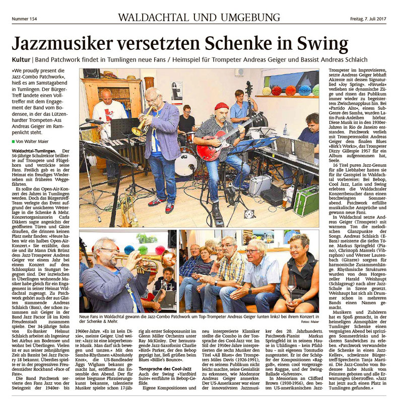 Pressebericht zum Jazzkonzert am 7.7.2017 in der Schenke und mehr.
