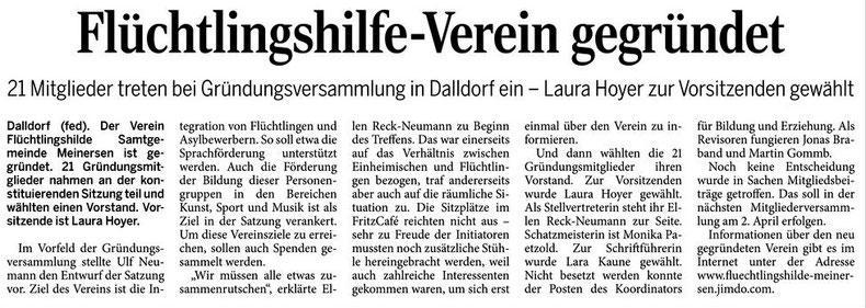 Aller-Zeitung vom 22.2.2016
