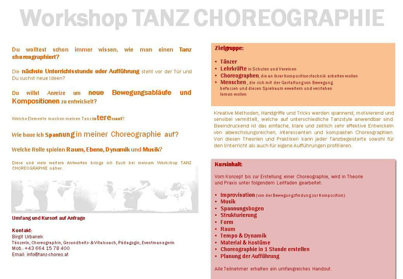 Workshop Tanz Choreographie, www.tanz-choreo.at, Birgit Urbanek