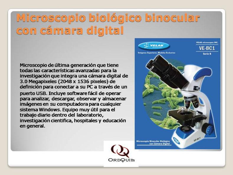 MICROSCOPIO BIOLÓGICO BINOCULAR CON CÁMARA DIGITAL VELAB MOD. VE-BC1