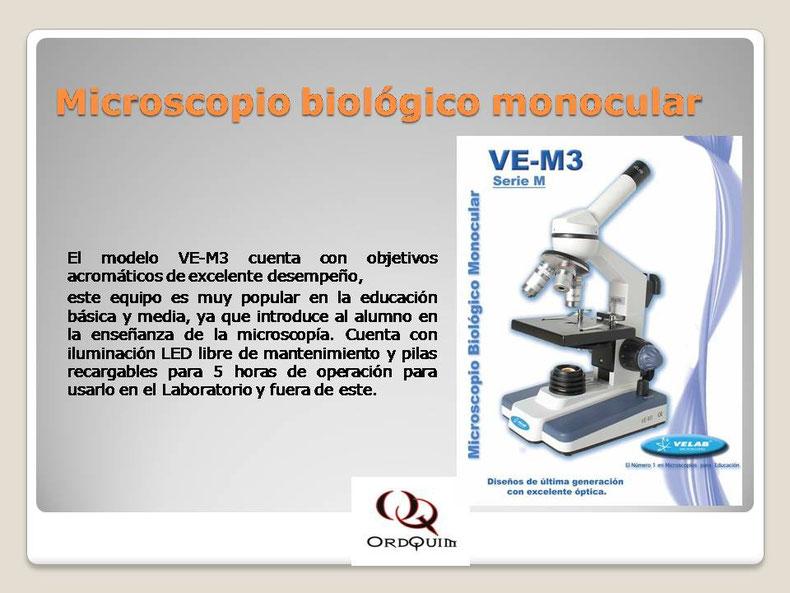 MICROSCOPIO BIOLÓGICO MONOCULAR VELAB MOD.VE-M3