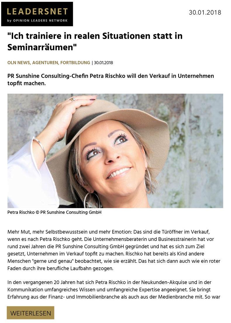 Petra Rischko, Ich trainiere in realen Situationen statt in Seminarräumen!