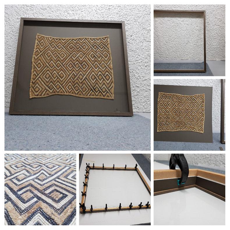 Arbeitsschritte für eine Einrahmung eines afrikanischen Teppichs in einen Objektrahmen