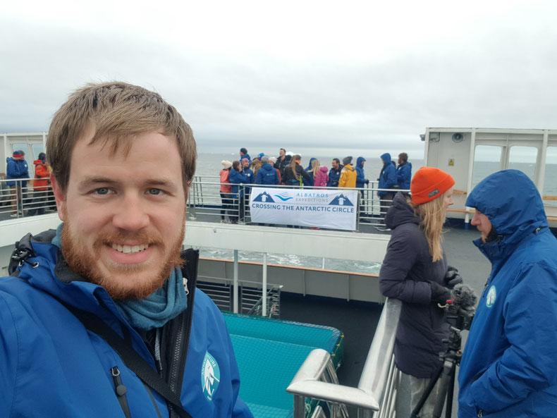 Mit dem Schiff den Südpolarkreis überquert, Crossing the Antarctic Circle