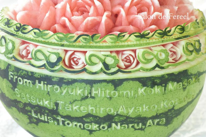 カービング スイカ メロン 教室 フルーツ 彫刻 大阪 オーダー 習い事 誕生日プレゼント 結婚式 カッティング ソープ 似顔絵 お供え
