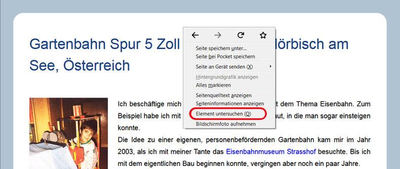 """Abbildung 1: Fenster für Auswahl """"Element untersuchen"""""""