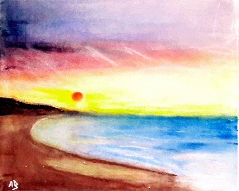 Küstenlandschaft, Ölbild, Meer, Bucht, Steilküste, Strand, Wellen, Sonnenuntergang, Ölmalerei, Landschaftsbild, Ölgemälde