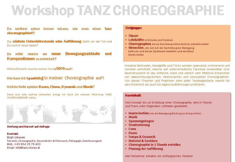 Workshop Tanz Choreographie, www.tanz-choreo.at, Birgit Urbanek