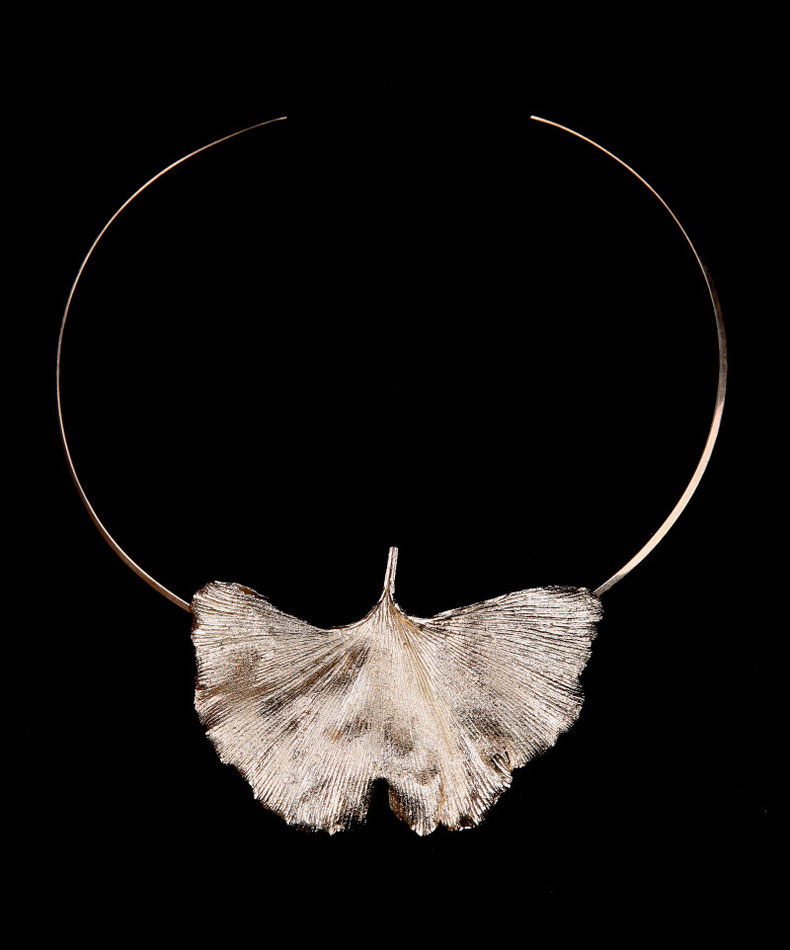Gingko leaf necklace, silver