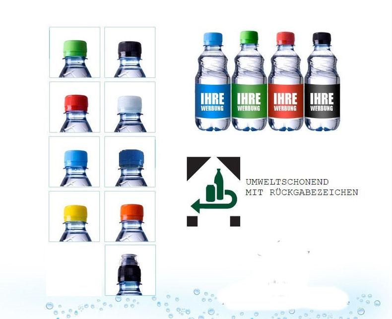 Logo Deutsches Pfandsystem und farbige Drehverschlüsse mit Sportscap