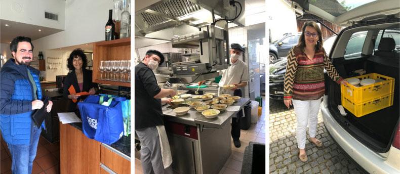 Günstige Mahlzeiten vom Team des Restaurant Hirschen (links im Bild Stefan und Karin Erni), geliefert für Risikogruppen von Martina Gradmann (rechts im Bild), Alain Schranz, Barbara Sutter und Yvette Jucker (ohne Bilder)